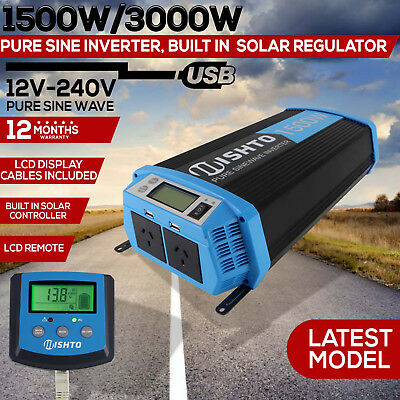 Power Inverter 1500W 3000W Solar Controller Charger 30A Pure Sine Wave 12V 240V