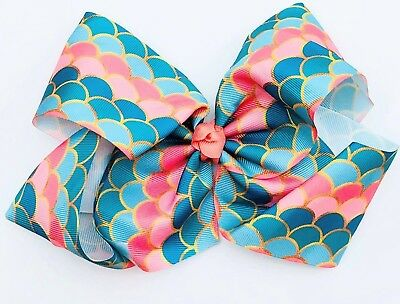 Mermaid Scale Print 7INCH Large Dance Boutique Girls' Hair Bow