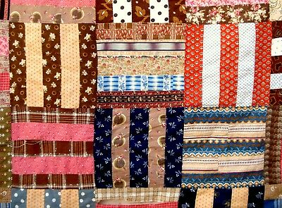 Antique Victorian Late 1800's Rail Fence Quilt or bedspread vtg 19th C