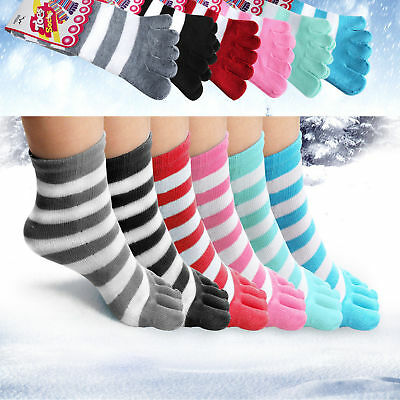 Ladies Women 6 Pairs Soft Striped Socks Five Fingers Toe Ankle One Size Regular