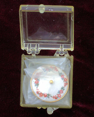 Miniature Dollhouse Marie Friedman Signed Covered Dish Red Flowers Unopened