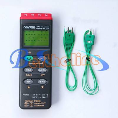 New  CENTER 309 Thermometer (K Type/Four Channels/Datalogger/PC Interface)