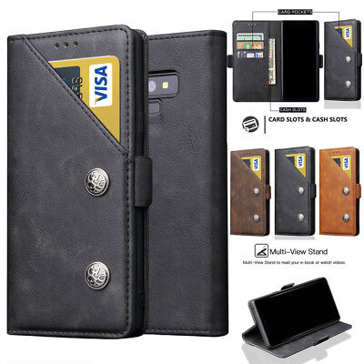 Shockproof PU Leather Flip Case Wallet Card Solt Cover for Samsung Galaxy Note 9