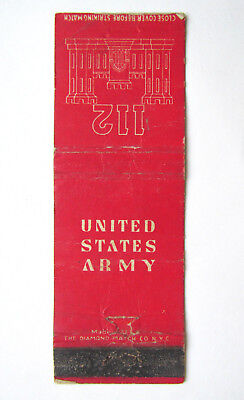 United States Army 112 - 20 Strike US Military Matchbook Cover Matchcover Worn