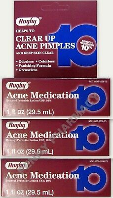 Benzoyl Peroxide 10% LOTION Acne Medication 1 fl. oz. Rugby ( 3 pack ) ***