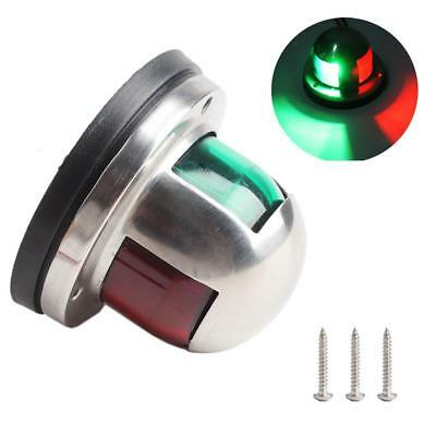 12V Stainless Steel Boat Marine Yacht Bow Navigation LED Light Green & Red #WW