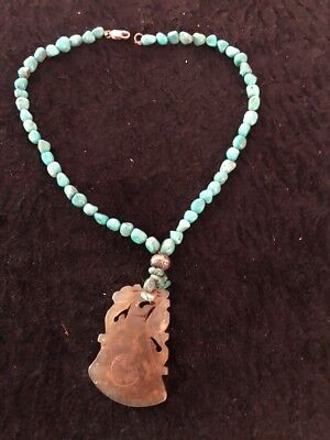 Vintage Chinese Jade & Turquoise Necklace DRAGON  Sterling Silver Rare