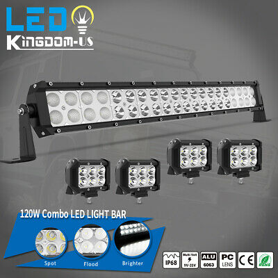 """20inch LED Light Bar Spot Flood Combo + 4x 4"""" Pods For Ford SUV 4WD Jeep UTE 24"""
