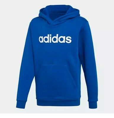 New! Adidas Youth Junior Linear Hoodie Pullover Sweat Top Royal/white Dj1788