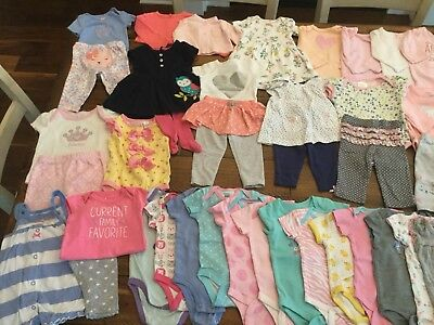 Huge Lot Of 55 Pieces Infant Baby Girl Clothing 0-3 Months/3 Months/3-6 Months