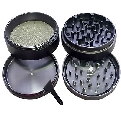 "4 Piece Magnetic 2.5"" Inch Black Tobacco Herb Grinder Spice Aluminum With Scoop"