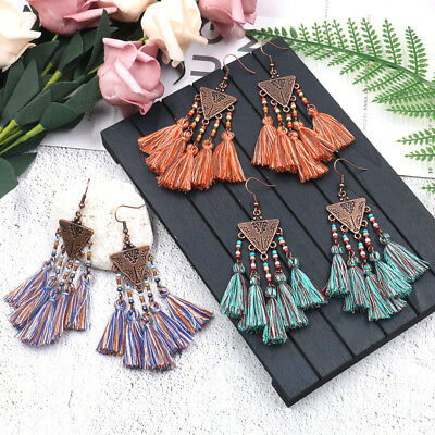 Fashion Bohemian Style Colour Cotton Long Tassel Dangle Women Ethnic Earrings