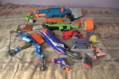 MIXED LOT of USED NERF GUNS BOOM CO and TOY QUEST BOW & ARROW good condition