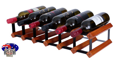 12 OR 7 Bottle MAHOGANY Timber Wine Rack -Genuine BORDERS - 100% Australian