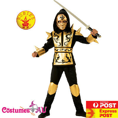 Boys Gold Ninja Costume Kids Japanese Fighter Warrior Martial Child Book Week