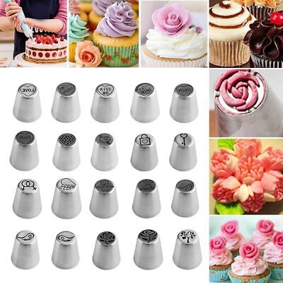 20Pcs Cream Pastry Icing Piping Baking Tools Cake Decor Russian Nozzles