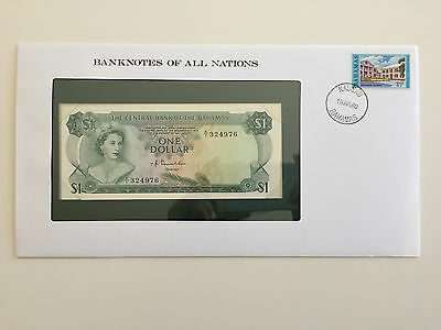 Banknotes of All Nations – Bahamas $1 One Dollar 1974 UNC Prefix K/1