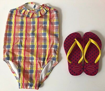 Country Road Girls Size 1 Swimsuit and Havaianas Size 23 - 24