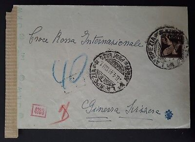 RARE 1941 Italy Censor Cover ties 50c stamp canc La Spezia to Red Cross