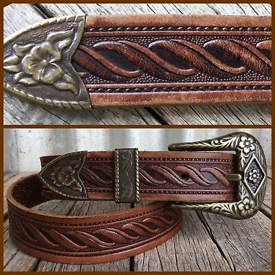 VINTAGE TOOLED LEATHER BELT Brass Buckle COWBOY WESTERN