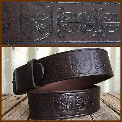 VINTAGE TOOLED LEATHER BELT New Zealand TRIBAL TIKI Chunky MAORI