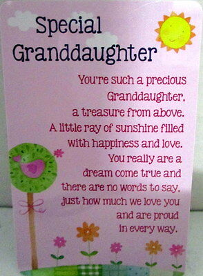 "Heartwarmer Keepsake Message Card ""special Granddaughter"" Sweet Birthday Gift"