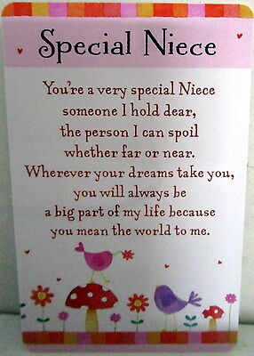 "Heartwarmer Keepsake Message Card ""special Niece"" Lovely Verse Birthday Gift"