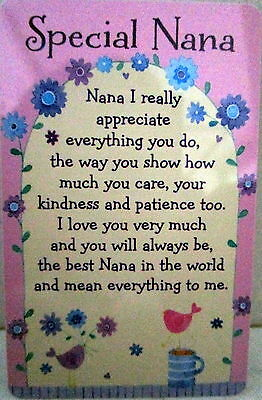 "Heartwarmer Keepsake Message Card ""special Nana"" Lovely Verse Cute Birthday Gift"