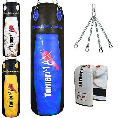 TurnerMAX Heavy Punch Bag Kickbag Punching Training with Chain and Bag Gloves