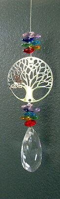 "Suncatcher ""tree Of Life"" Multi Coloured Crystals & Silver Butterfly Gift Boxed"