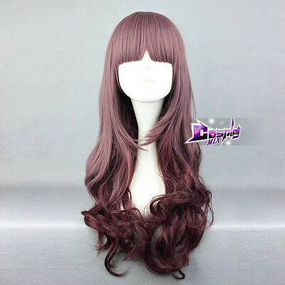 """Lolita 26"""" Brownish Purple Long Curly Party Cosplay Wig + Cap Heat Resistant"""