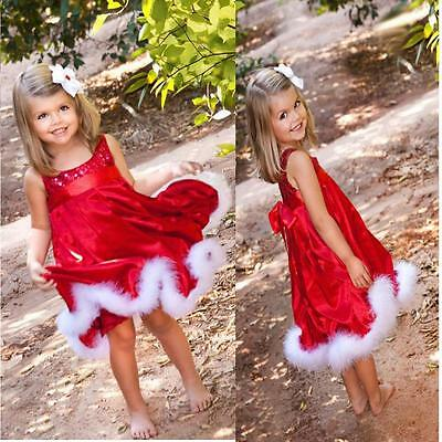 Baby Kid Girls Christmas Party Dress Bling Paillette Tutu Dresses Xmas Gift Red
