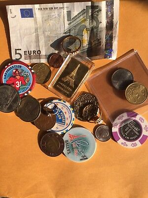 Junk Drawer:  Coins, Currency, Jewelry, and Tokens - Lot 8