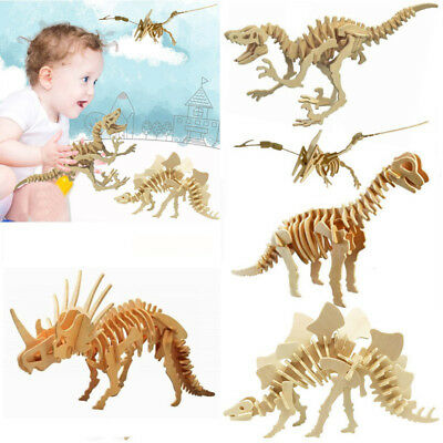 Kids 3D Puzzle Wooden Animal Model Craft Decor Educational DIY Baby Toys Gift