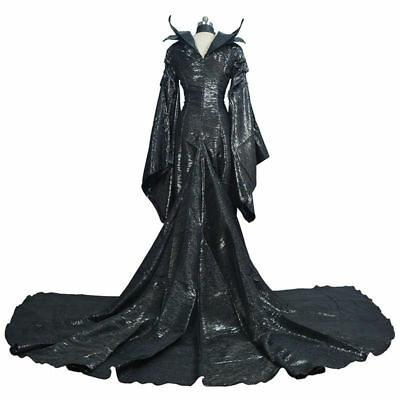 Womens Witch Maleficent Black Costume Long Book Week Dresses Halloween Movie