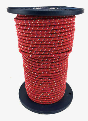 8mm x 70 Metres, Bungee Rope Red With White And Blue Fleck, Shock Cord Tie Down