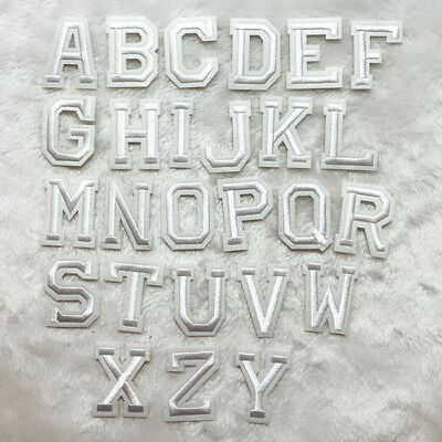 White Alphabet Letter Embroidered Patch Uniform Coat Badge Sew Iron On Applique