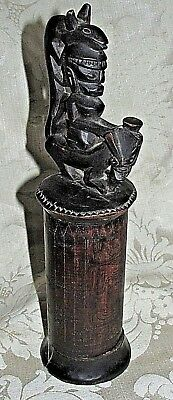 Vintage Africa Wood Canister Container Man & Animal Hat Finial Lid Tribal 29CmT