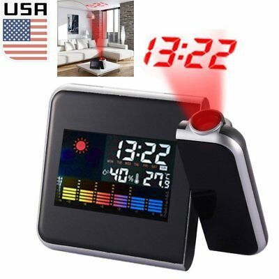Projection Digital Weather LCD Snooze Alarm Clock Projector Color Display LED US