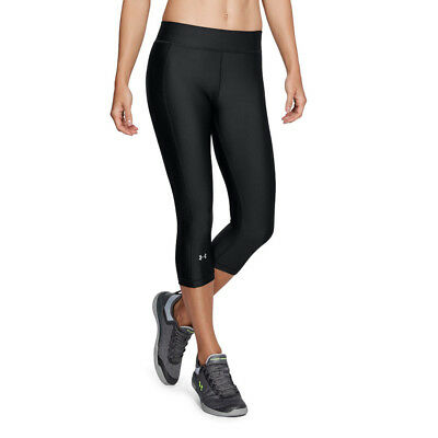 Under Armour Damen HeatGear Capri Leggings Lange Hose Laufhose Caprihose Schwarz
