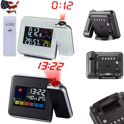 LCD Snooze Alarm Clock Projection Digital Weather Projector Colorful Display