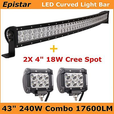 """Curved 42"""" 240W LED Work Light Bar Offroad Truck + 4"""" 18W Cree Spot car Boat 43"""""""