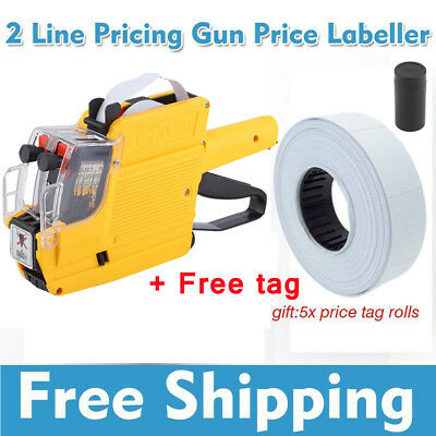 Price Tag Gun Labeler MX-6600 2-line 10-Digits Labeller Included Labels & Ink US