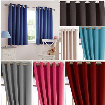 Boys & Girls Bedroom Soft Woven Blackout Ring Top Curtains Dim Out The Light