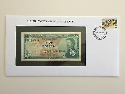 Banknotes of All Nations – East Caribbean Currency Authority $5 1965 UNC