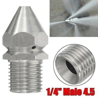 Pressure Washer Drain Sewer Cleaning Pipe Jet Spray Nozzle 4 Jet 1/4''M 4.5 #YA9