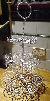 Pink 3 Tier Cupcake Stand Metal In Exc Cond I Will Post