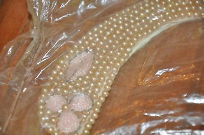 Vtg NOS Japan Faux Pearl Pink Beaded Flower Sweater Collar Necklace J79