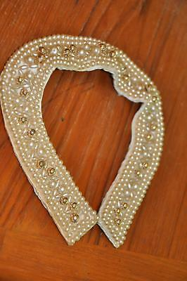 Vtg NOS Japan Faux Pearl Gold Bead Sweater Collar Necklace J77