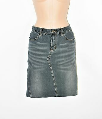 Blue Denim AMISU Pencil Straight Knee Length Stretch Women's Skirt Size UK8 L19""